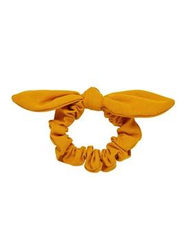 Mustard Linen Bow Scrunchie by Sportsgirl