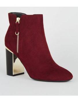Dark Red Suedette Metal Block Heel Boots by New Look
