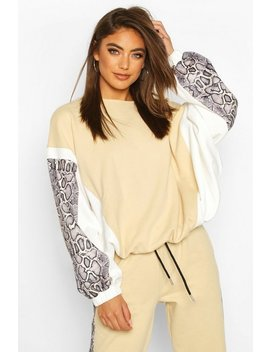 Colour Block Snake Print Sweatshirt by Boohoo