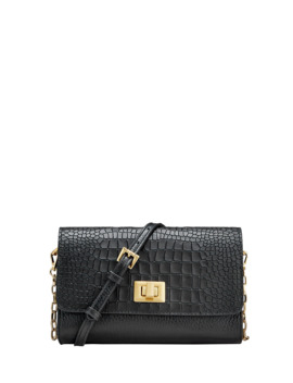 Catherine Alligator Print Crossbody Bag   Brushed Golden Hardware by Gigi New York