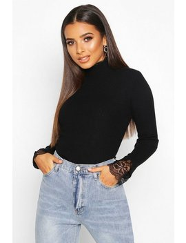 Knitted Lace Ruffle Rib Turtle Neck Top by Boohoo