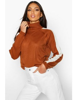 Stripe Detail Roll Neck Jumper by Boohoo
