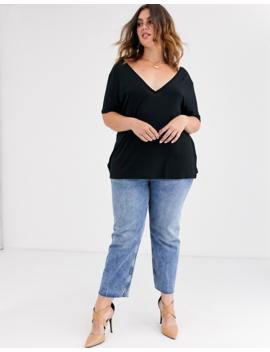 Asos Design Curve – Übergroßes, Schwarzes T Shirt Mit V Ausschnitt Auf Der Vorder  Und Rückseite by Asos