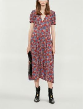 Floral Print Crepe Midi Dress by Topshop