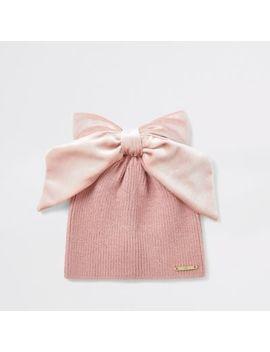 Mini Girls Pink Velvet Bow Beanie by River Island
