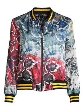 Lonnie Reversible Oversized Floral Tie Dye Bomber Jacket by Alice + Olivia