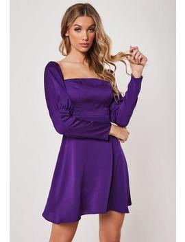 Purple Satin Balloon Sleeve Milkmaid Dress by Missguided