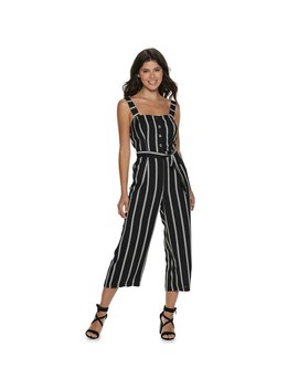 Juniors' Candie's® Button Front Tie Waist Jumpsuit by Juniors' Candie's