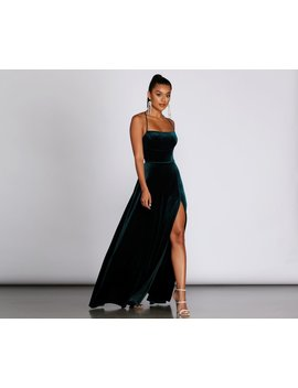Alycia Velvet Lace Up Gown by Windsor