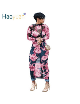 Haoyuan Plus Size Floral Mesh Women Maxi Dress Long Sleeve Vestidos See Through Club Sexy Dress Summer Autumn Party Long Dresses by Ali Express