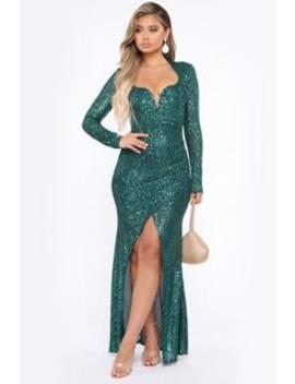 All For You Sequin Mermaid Gown   Emerald by Fashion Nova