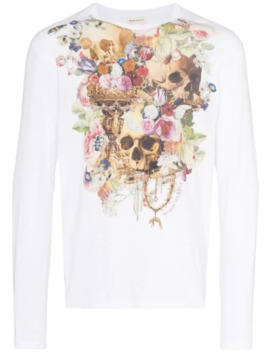 Floral Skull Print Long Sleeve T Shirt by Alexander Mc Queen