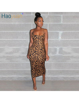 Haoyuan Sexy Cheetah Leopard Print Midi Dress Women Clothes Plus Size Vestido Elegant Spaghetti Strap Bodycon Night Club Dresses by Ali Express.Com