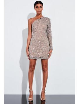 Peace + Love Silver One Shoulder Embellished Mini Dress by Missguided