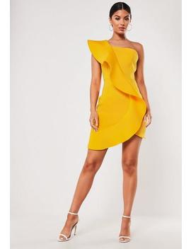 Mustard Scuba Frill One Shoulder Mini Dress by Missguided