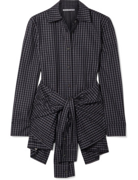 Layered Tie Front Checked Poplin Shirt by Alexander Wang