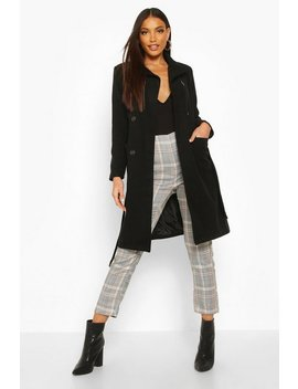 Longline Pocket Detail Wool Look Trench Coat by Boohoo