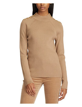 Mockneck Button Trim Sweater by General
