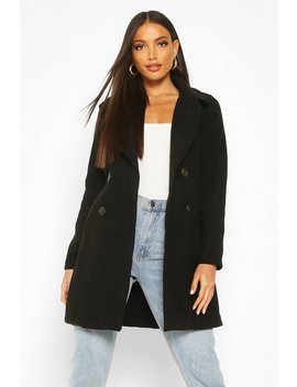 Double Breasted Collared Wool Look Coat by Boohoo