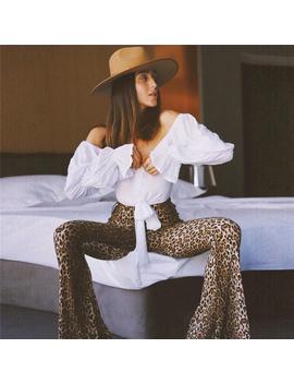 New Fashion Women Animal Leopard Print Trousers High Waist Female Flares Pants Fashion Street Wear by Ali Express.Com