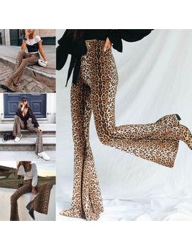 Hippie Design High Waist Women Leopard Pants Wide Leg Long Flare Bell Bottom Trouser Fashion Ladies Autumn Pants S M L Usa by Ali Express.Com
