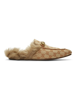 Beige & Brown Canvas Gg Princetown Loafers by Gucci