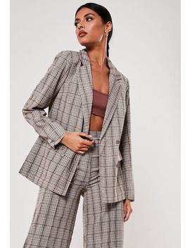 Brown Check Print Co Ord Oversized Blazer by Missguided