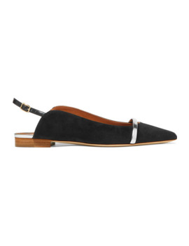 Marion Leather Trimmed Suede Slingback Point Toe Flats by Malone Souliers