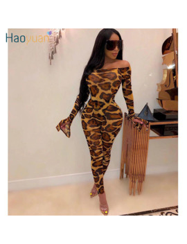 Haoyuan Mesh Sheer Leopard Camouflage Two Piece Set Women Festival Clothing Sexy Rompers Top Pant Matching 2 Piece Club Outfits by Ali Express.Com
