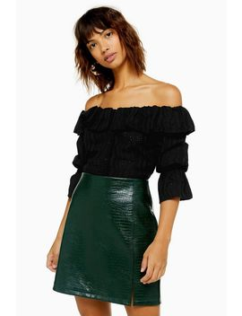 Tall Black Broderie Bardot Blouse by Topshop
