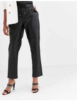 Mango Tie Waist Faux Leather Trousers In Black by Mango