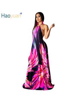 Haoyuan Summer Backless Sexy Long Maxi Dress Women Clothes Elegant Bohemian Boho Beach Dresses Casual Loose Vintage Vestidos by Ali Express.Com