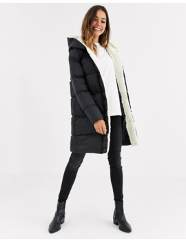 Brave Soul Hoplong Padded Coat With Borg Lining by Asos