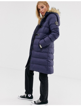 Brave Soul Wizard Long Padded Coat With Faux Fur Hood by Asos