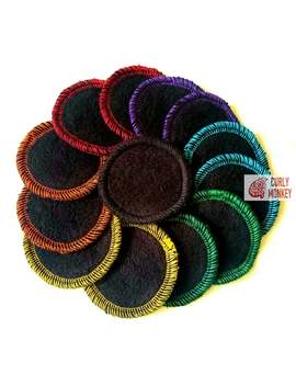 14 Reusable Mini Hemp Fleece Makeup Remover Rounds   Washable Cotton Eye Pads   Black/Rainbow by Etsy