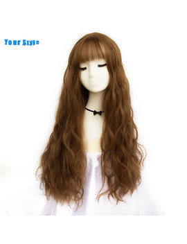 Your Style 42 Colors Synthetic Long Body Wave  Afro Natural Hair Wigs With Bangs For Black Women Brown Gray Grey by Ali Express.Com