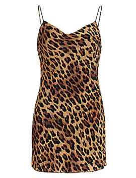 Harmony Leopard Slip Dress by Alice + Olivia