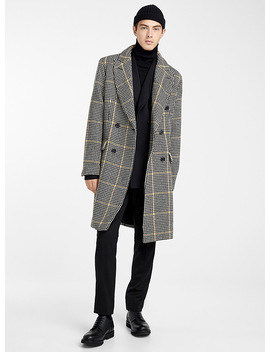 Accent Line Houndstooth Overcoat by Le 31
