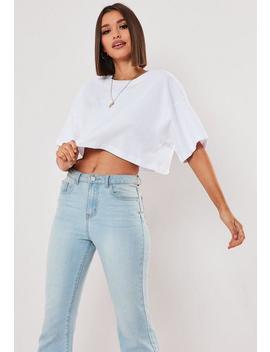 Camiseta Corta Con Hombros Caídos En Blanco by Missguided