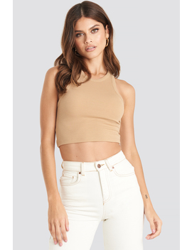 Cropped Ribbed Top Beige by Na Kd Trend