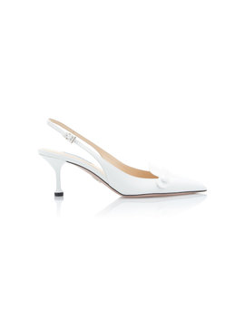 Croc Effect Leather Slingback Pumps by Prada