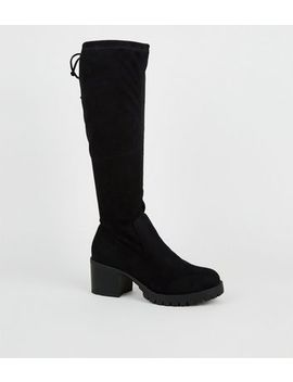 Girls Black Suedette Chunky Boots by New Look