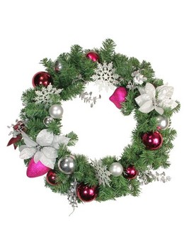 "Northlight 24"" Unlit Purple/Silver Poinsettia, Eucalyptus Artificial Christmas Wreath by Northlight"