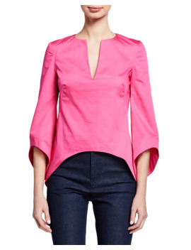 3/4 Sleeve V Neck Shirting Blouse by Brandon Maxwell