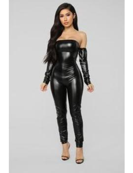Soothe Faux Leather Jumpsuit   Black by Fashion Nova