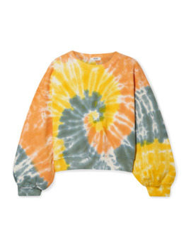Tie Dyed Cropped Cotton Jersey Sweatshirt by Agolde