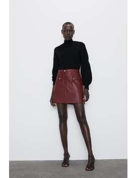 Faux Leather Mini Skirt Skirtstrf by Zara