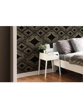 Black And Golden Tilework   Removable Wallpaper   Self Adhesive   Temporary Wallpaper #176 by Etsy