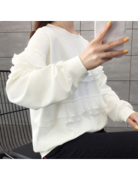 Female Ruffled Thin Sweatshirts O Neck Autumn Korean Style Solid Tops Women Long Sleeve Loose Hoodies by Ali Express