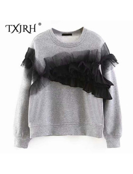 Txjrh Fashion Mesh Stitching Pleated Ruffles Sweatshirt Long Sleeve O Neck Pullover Jumper Casual Sweats Outwear 2 Colors Tops by Ali Express